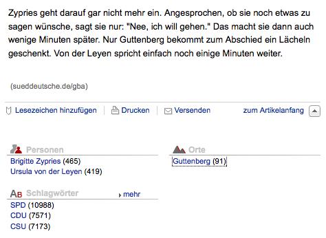 Screenshot der Sueddeutschen mit Einordnung von Guttenberg als Ort