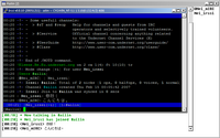 (screenshot of mIRC and Irssi)